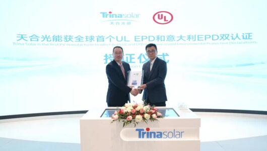 Trina Solar Is the First PV Manufacturer to Obtain Dual Environmental Protection Certifications From UL